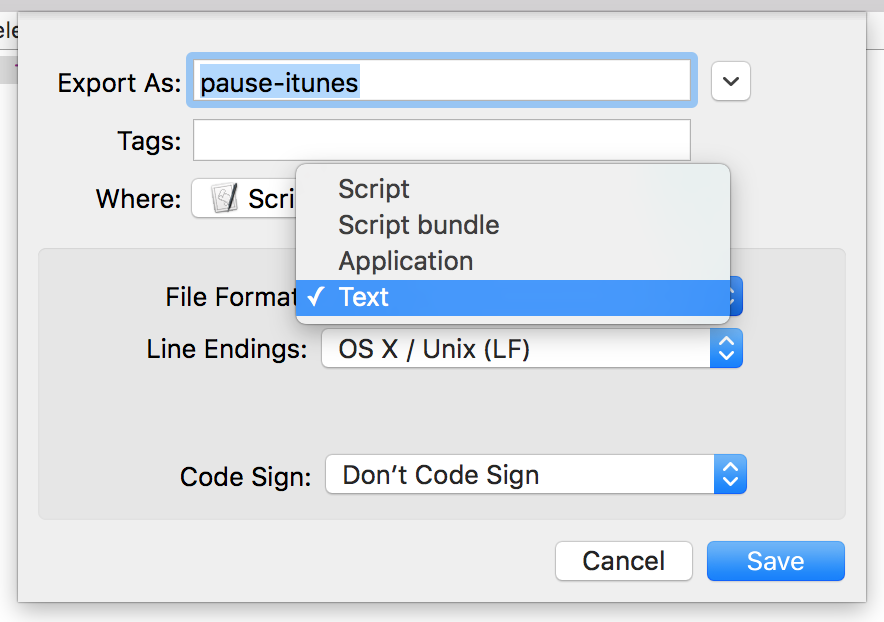 Exporting an AppleScript script